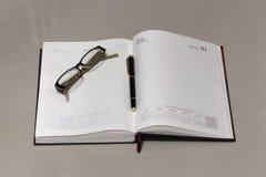 Θέαμα και μάνδρα ημερολογίων στοκ φωτογραφία με δικαίωμα ελεύθερης χρήσης