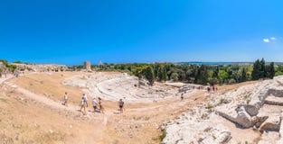 Θέατρο αρχαίου Έλληνα των Συρακουσών, Σικελία, Ιταλία Στοκ Εικόνες