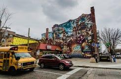 Θέατρο της ζωής - Mural τέχνες - Φιλαδέλφεια, PA στοκ εικόνα