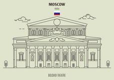 θέατρο της Μόσχας Ρωσία bolshoi Εικονίδιο ορόσημων απεικόνιση αποθεμάτων