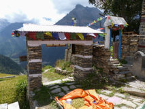 Θέα βουνού από το χωριό Ghyaru Στοκ εικόνες με δικαίωμα ελεύθερης χρήσης