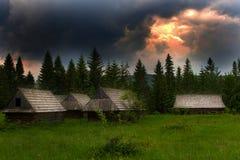 θέα βουνού βραδιού Στοκ Εικόνες