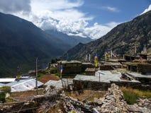 Θέα βουνού στο χωριό Ghyaru Στοκ εικόνα με δικαίωμα ελεύθερης χρήσης