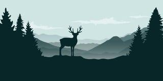 Θέα βουνού ταράνδων άγριας φύσης στην ομίχλη απεικόνιση αποθεμάτων