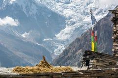 Θέα βουνού, Annapurnas στο Νεπάλ Στοκ Φωτογραφίες