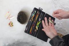 θέλγητρα πάγου αλιείας Στοκ Εικόνες