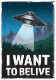 Θέλω να πιστεψω την αφίσα Στοκ Εικόνες