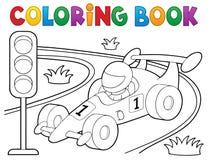 Θέμα 1 αγωνιστικών αυτοκινήτων βιβλίων χρωματισμού ελεύθερη απεικόνιση δικαιώματος