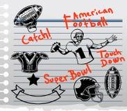 Θέμα αμερικανικού ποδοσφαίρου doddle σε χαρτί Στοκ Εικόνες