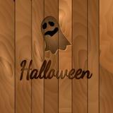 Θέμα αποκριών, σκοτεινό ξύλινο υπόβαθρο με το φάντασμα Στοκ Εικόνες