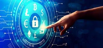 Θέμα ασφάλειας Cryptocurrency με τη συμπίεση χεριών ένα κουμπί στοκ εικόνες με δικαίωμα ελεύθερης χρήσης