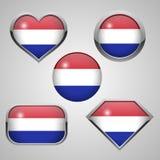 Θέμα εικονιδίων σημαιών Netherland Στοκ Εικόνες