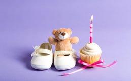 Θέμα εορτασμού παιδιών με το cupcake Στοκ Φωτογραφία