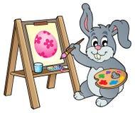 Θέμα 1 ζωγράφων λαγουδάκι Πάσχας ελεύθερη απεικόνιση δικαιώματος