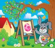 Θέμα 2 ζωγράφων λαγουδάκι Πάσχας απεικόνιση αποθεμάτων
