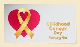 Θέμα ημέρας καρκίνου παιδικής ηλικίας Η κάρτα ή το έμβλημα με μια καρδιά αποκόπτει στο έγγραφο, μια χρυσή κορδέλλα και να μοιάσει Στοκ Φωτογραφία