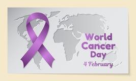Θέμα ημέρας παγκόσμιου καρκίνου Η κάρτα ή το έμβλημα με έναν χάρτη αποκόπτει στο έγγραφο, μια πορφυρή κορδέλλα και να μοιάσει με  Στοκ φωτογραφίες με δικαίωμα ελεύθερης χρήσης
