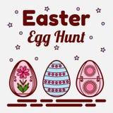 Θέμα κυνηγιού αυγών Πάσχας Επίπεδα εικονίδια τριών χρωματισμένων αυγών Μπορέστε να χρησιμοποιηθείτε ως ευχετήρια κάρτα, πρόσκληση Στοκ φωτογραφία με δικαίωμα ελεύθερης χρήσης