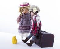 Θέμα Πάσχας με τις εκλεκτής ποιότητας κούκλες Στοκ εικόνα με δικαίωμα ελεύθερης χρήσης