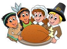 Θέμα προσκυνητών ημέρας των ευχαριστιών διανυσματική απεικόνιση