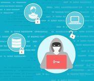 Θέμα προστασίας δεδομένων με το χάκερ Στοκ εικόνες με δικαίωμα ελεύθερης χρήσης