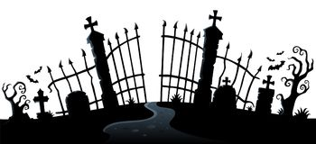 Θέμα 2 σκιαγραφιών πυλών νεκροταφείων διανυσματική απεικόνιση