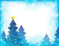 Θέμα 5 σκιαγραφιών χριστουγεννιάτικων δέντρων Στοκ φωτογραφία με δικαίωμα ελεύθερης χρήσης