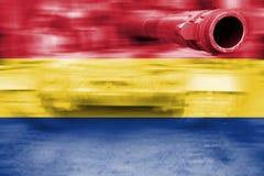 Θέμα στρατιωτικής δύναμης, δεξαμενή θαμπάδων κινήσεων με τη σημαία της Ρουμανίας Στοκ Φωτογραφία