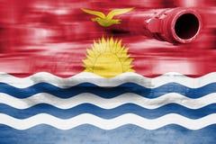Θέμα στρατιωτικής δύναμης, δεξαμενή θαμπάδων κινήσεων με τη σημαία του Κιριμπάτι Στοκ φωτογραφία με δικαίωμα ελεύθερης χρήσης
