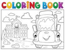 Θέμα 8 σχολικών λεωφορείων βιβλίων χρωματισμού Στοκ Εικόνα
