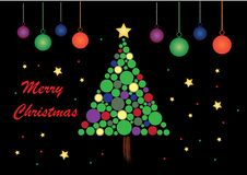 Θέμα Χαρούμενα Χριστούγεννας με το μαύρο υπόβαθρο διανυσματική απεικόνιση