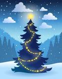 Θέμα 5 χριστουγεννιάτικων δέντρων Στοκ φωτογραφία με δικαίωμα ελεύθερης χρήσης