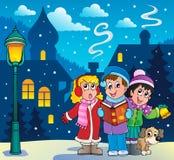 Θέμα 3 τραγουδιστών κάλαντων Χριστουγέννων Στοκ Φωτογραφίες