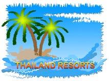 Θέρετρα της Ταϊλάνδης που σημαίνουν τα ταϊλανδικά ξενοδοχεία στην Ασία διανυσματική απεικόνιση