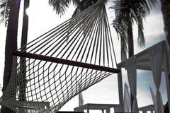 Θέρετρο ξενοδοχείων υπαίθριο με την αιώρα κάτω από τους φοίνικες στοκ φωτογραφία με δικαίωμα ελεύθερης χρήσης