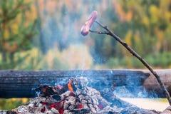 Θέρμανση λουκάνικων επάνω από την πυρά προσκόπων στη Φινλανδία στοκ φωτογραφία με δικαίωμα ελεύθερης χρήσης
