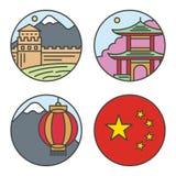 Θέσεις διακοπών ταξιδιού της Κίνας χώρας στο λεπτό σχέδιο ύφους γραμμών Καθορισμένη αρχιτεκτονική, διάνυσμα έννοιας υποβάθρου φύσ Στοκ Εικόνες