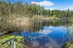 Θέση αλιείας άνοιξη Στοκ Εικόνες