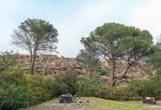 Θέση για κατασκήνωση Kliphuis στο πέρασμα Pakhuis στα βουνά Cederberg στοκ εικόνες