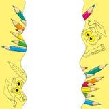 Θέση για το κείμενο - πλαίσια στην απεικόνιση υποβάθρου κουκουβαγιών σχολικών κινούμενων σχεδίων Στοκ εικόνες με δικαίωμα ελεύθερης χρήσης