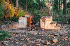 Θέση για το πτώμα εγκαυμάτων του αστέγου στην παράδοση βουδισμού Στοκ φωτογραφία με δικαίωμα ελεύθερης χρήσης