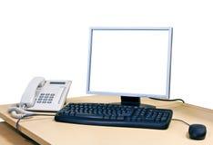 Θέση εργασίας με τον υπολογιστή Στοκ φωτογραφίες με δικαίωμα ελεύθερης χρήσης