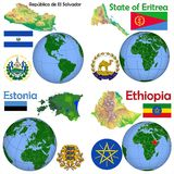 Θέση Ελ Σαλβαδόρ, Eritrea, Εσθονία, Αιθιοπία Στοκ εικόνες με δικαίωμα ελεύθερης χρήσης