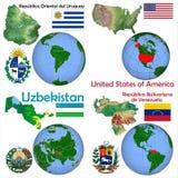 Θέση Ουρουγουάη, Ηνωμένες Πολιτείες, Ουζμπεκιστάν, Βενεζουέλα Στοκ εικόνες με δικαίωμα ελεύθερης χρήσης