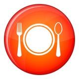 Θέση που θέτει με το εικονίδιο πιάτων, κουταλιών και δικράνων, επίπεδο ύφος διανυσματική απεικόνιση