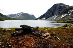 Θέση πυρκαγιάς στην ακτή μιας λίμνης με τα βουνά και το χιόνι Στοκ Φωτογραφία