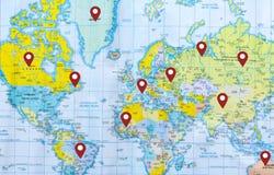 Θέση στον παγκόσμιο χάρτη Στοκ φωτογραφίες με δικαίωμα ελεύθερης χρήσης