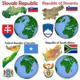 Θέση Σλοβακία, Σλοβενία, Σομαλία, Νότια Αφρική Στοκ φωτογραφία με δικαίωμα ελεύθερης χρήσης