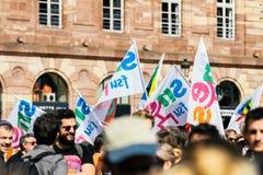 Θέση kleber πολιτικός Μάρτιος κατά τη διάρκεια ενός γαλλικού σε εθνικό επίπεδο agai ημέρας Στοκ Φωτογραφίες