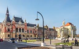 Θέση Unirii με την αίθουσα πόλεων Oradea - της Ρουμανίας στοκ εικόνες με δικαίωμα ελεύθερης χρήσης